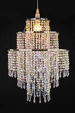 Large 3 Tiers Ceiling Chandelier Beads Pendant Shade Lampshade Jewel Droplets