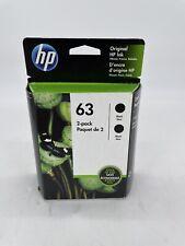 HP 63 Black Ink Cartridge 2 Pack - NEW Exp 2021