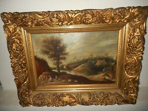 Antique  oil painting,{ Landscape with people, sheep, cows...  Great frame! }.