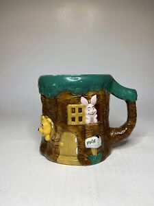 Retro Disney Store Winnie The Pooh Mug Official Large 3D Tree Hand Painted VTG