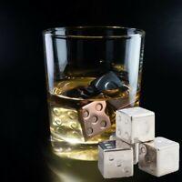 Whisky Whiskey Stone Dice Stainless Steel Chillers Set of 4 Carry Velvet Bag