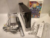 Black Nintendo Wii Console Bundle- Game, Cords, Wiimote, Nunchuk