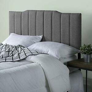 Zinus Satish Upholstered Channel Stitched Headboard in Grey Queen