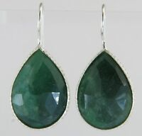 35.00ct Rose Cut Genuine Emerald White Gold Silver Wire Drop Earrings