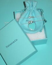 NEW!! Tiffany & Co Sterling Silver Blue Enamel Return To Heart Pendant Necklace