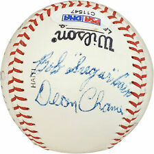 Chance, Sewell, Cain & Hughes Autographed Baseball PSA/DNA C11547