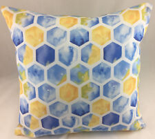 Blue, Yellow, Green and White Hexagon Design Evans Lichfield Cushion Cover