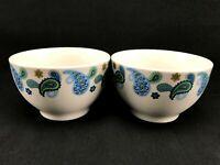 "Royal Norfolk Stoneware BLUE PAISLEY Cereal Soup Bowls 5.5"" - Set of 2"