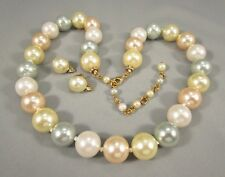 Faux Pastel Pearl SET Avon Earrings Adjustable Length Necklace #763