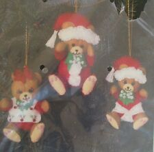 "Bucilla ""Bear Family"" Jeweled Ornaments Set of 3-32428 Complete Kit-Sealed"