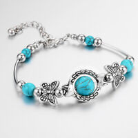 Natural Stone Bracelet Turquoise Beaded Band Turtle Lucky Bangle Gifts Women