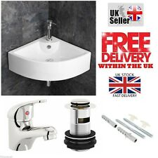 COMPACT SMALL CLOAKROOM CORNER BASIN SINK WALL HUNG + FREE TAP & WASTE SET