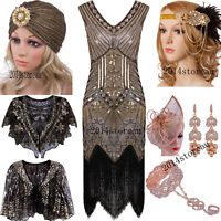 1920s Gastby Sequin Art Nouveau Embellished Fringed Flapper Dress Evening Gowns