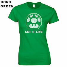 123 Get a life Womens T-Shirt funny video game 90s controller mushroom super