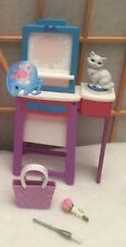 Barbie Doll I Can Be Art Teacher Canvas Color Changing Easel  Paint Brush Cat