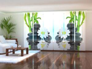 Fotogardine Bambus Steine Wellness Blume Schiebevorhang Schiebegardine auf Maß