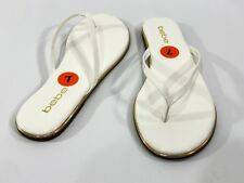 Bebe Women's Size 7 White/Gold Flat Thong Slipper Sandal