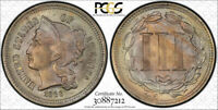 1866 3CN Three Cent Nickel PCGS MS 65 Uncirculated Toned Beauty Cert#7212
