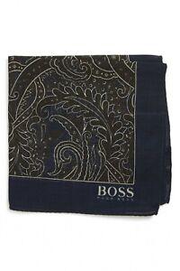 HUGO BOSS Men's Dark Brown/ Navy Paisley Pocket Square NEW NWT $65