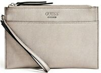 NWT GUESS MISAY WRISTLET BAG Pewter Logo Clutch Pouch Handbag Wallet GENUINE