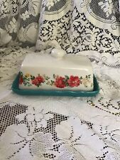 Pioneer Woman Home Vintage Floral  Butter Dish Kitchen White Teal