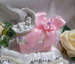 Geldgeschenk Box Geschenkbox ZUR TAUFE mit ENGEL in Feder Rosa Weiß  Silber NEU