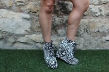 "LADIES "" SERGIO TODZI "" LEATHER ZEBRA PRINT HIGH WEDGE HEEL SHOES ~ EU 40 = UK 6"