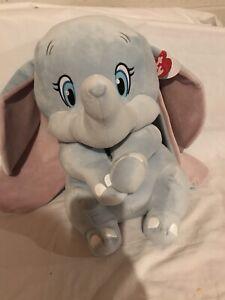 """New Disney Ty Beanie Sparkle Buddy Sitting Dumbo The Elephant Large 16"""""""