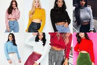 New Women's Ladies Frill ruffle knitted long Sleeves Crop Sweater Jumper Top