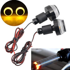 Bright Universal Amber LED Handle Bar End Indicator Grip Plug Turn Signal Light