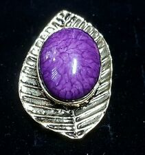 New fashion cocktail ring jewelry adjust purple marbled oval stone gold-tone