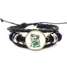 Irish To The Bone Glass Cabochon Bracelet Braided Leather Strap Bracelets