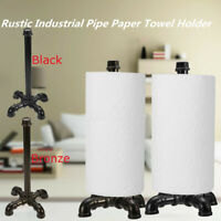 Rustic Industrial Iron Pipe Roll Paper Towel Holder Steampunk Stand Storage DIY