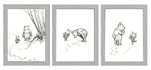 Winnie the Pooh and Piglet Nursery Wall Art Pictures Baby Gift SET OF 3 PRINTS