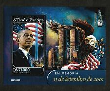 Sao Tome & Principe 2016 - In Memory of 9/11, Obama, Flag - Souvenir Sheet - MNH
