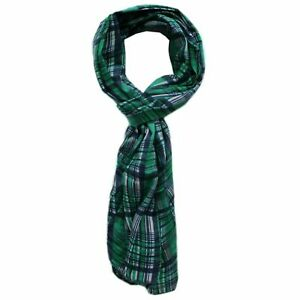 New Hugo Boss mens woman unisex green blue checked neck suit Italian made scarf
