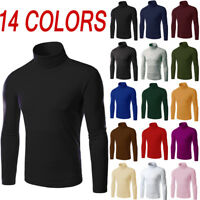 Men's Knit Wear Jumpers Sweaters Slim Basis Tops Pullover Turtleneck Solid