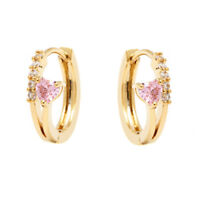 Sevil 18K Gold Plated Pink Heart Huggie Earrings With Swarovski Elements