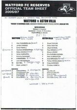 Teamsheet - Watford Reserves v Aston Villa Reserves 2006/7