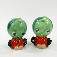 Vintage Anthropomorphic Watermelon Head People Salt Pepper Shaker Japan INV280