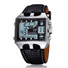 Mens Big Square Face LED Dual Time Analog Digital Dial Back Light Leather Watch