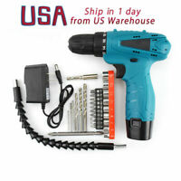12V Cordless Electric Drill Screw LED 1-Speed Cordless Rechargeable Battery