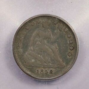 1858-P 1858 Liberty Seated Half Dime H10C ICG VF20 Details