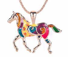 """Grandi Colorati Smalto Tono Oro Ciondolo a forma di cavallo con 19.5-22"""" Collana GLD P18"""