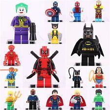 16 Pcs Set Super Hero Marvel Batman Deadpool Joker Minifigures custom fit Lego