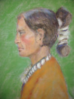 Vintage pastel painting Native American Indian portrait mystery artist