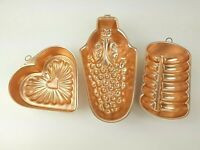 Lot of 3 Copper Jello Mold Wall Hanging Heart Loaf Grapes Vintage