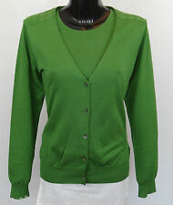 AQUASCUTUM Ladies Fine TWINSET Top Cardigan Jumper sz L GREEN BNWT