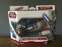 Star Wars Clone Wars Freeco Speeder w/ Obi Wan Kenobi Figure Hasbro