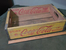 """'50s Coca-Cola *Yellow/Red* Wood_Metal Edged_CRATE """"There's Nothing Like Coke"""""""